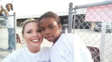 Adoptive Family Photo: Alicia at a Jog-a-Thon With Her Student, click to view bigger version