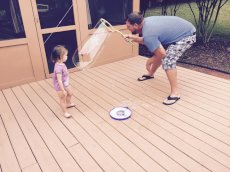 Adoptive Family Photo: Bubble Fun with Uncle Mark