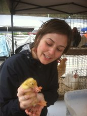 Adoptive Family Photo: Making Friends with a Duckling at the Flea Market, click to view bigger version