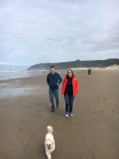 Adoptive Family Photo: Beach Time with Our Friend's Dog