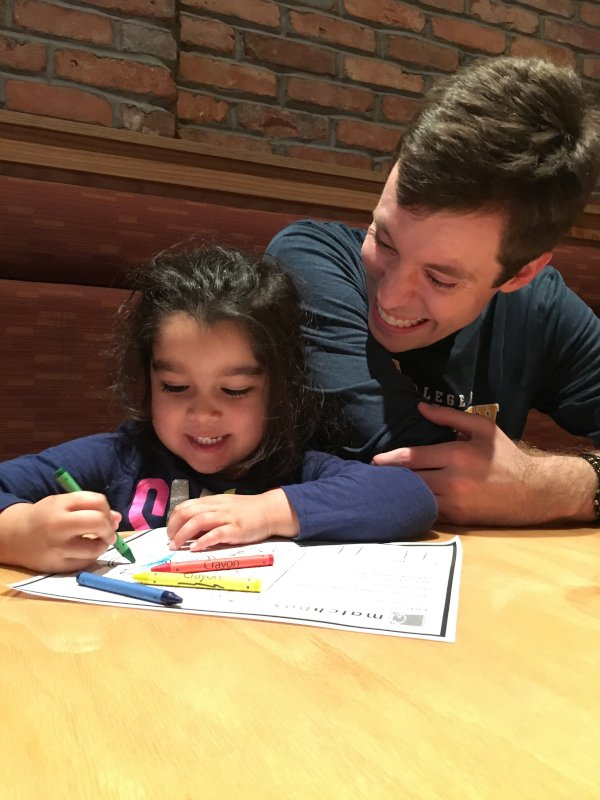 Coloring & Telling Stories at Dinner