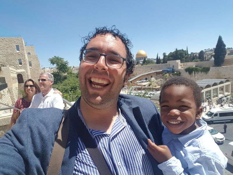 David & Matan at the Western Wall in Jerusalem