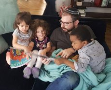 Adoptive Family Photo: D'ror Reading With Matan & Our Nieces