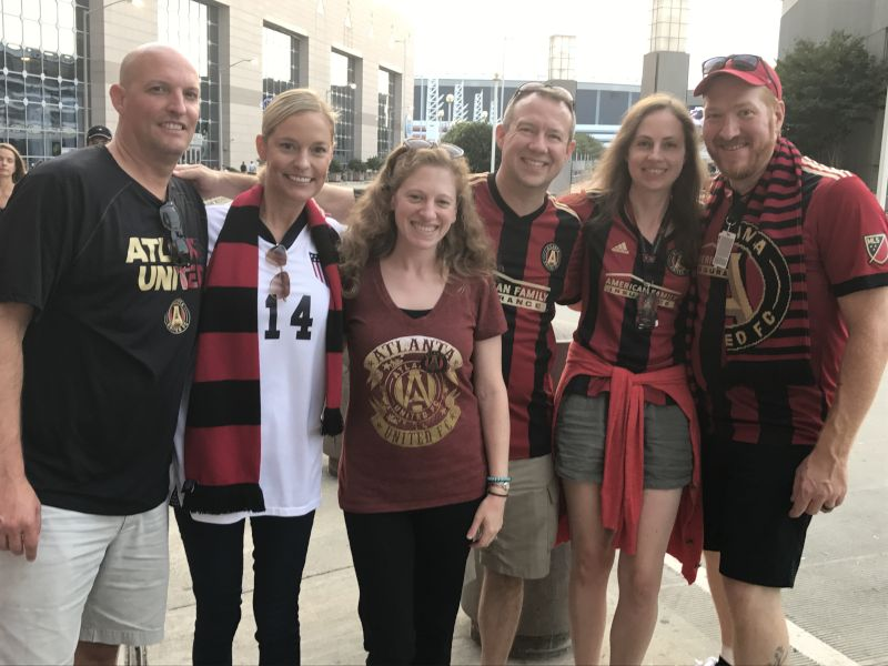Cheering on Atlanta United with Friends