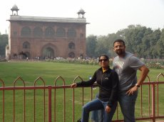 Adoptive Family Photo: Learning About Our Heritage  is Very Important to Us -  At the Red Fort in Delhi, click to view bigger version