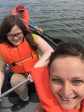 Adoptive Family Photo: Canoeing with Crystal's Sister, click to view bigger version