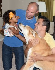 Adoptive Family Photo: Playing with Our Dog, Lucy, click to view bigger version