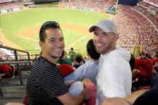 Adoptive Family Photo: Enjoying a Reds Game, click to view bigger version