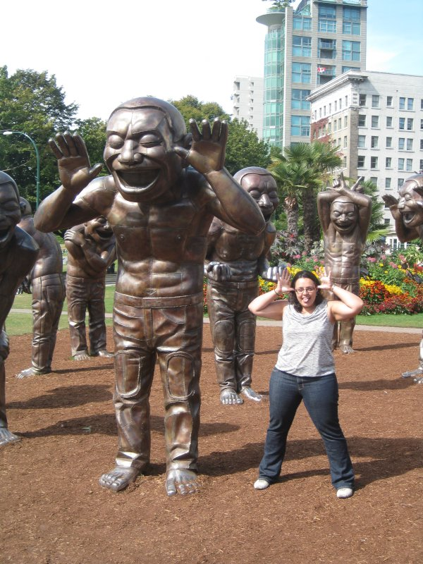 Posing with the Statues