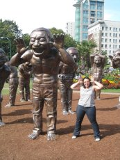 Adoptive Family Photo: Posing with the Statues, click to view bigger version