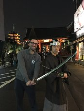 Adoptive Family Photo: Posing with a Samurai in Tokyo, click to view bigger version