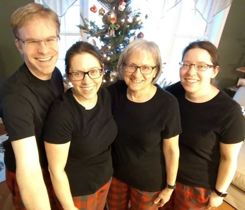 Matching Christmas PJ's With Aly's Mom & Twin Sister