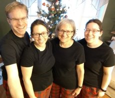 Adoptive Family Photo: Matching Christmas PJ's With Aly's Mom & Twin Sister