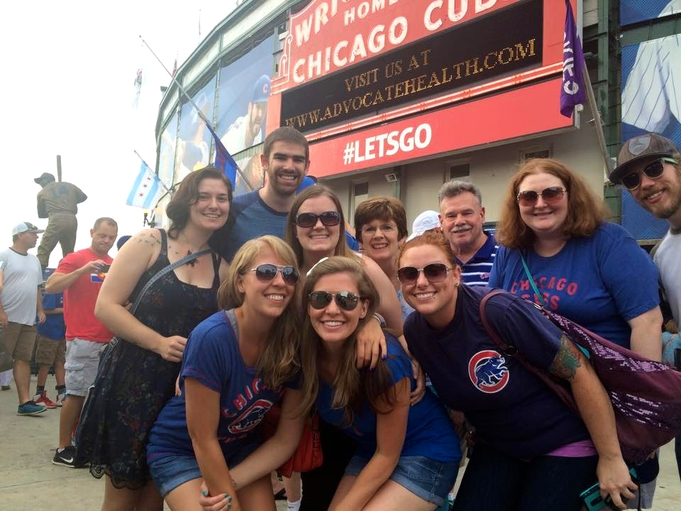 Cheering on the Chicago Cubs with Friends & family!
