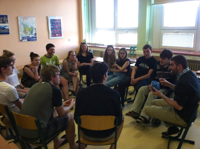 Playing Catchphrase with His Czech Students Was One of Jadon's Favorite Lessons