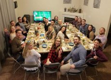 Adoptive Family Photo: Thanksgiving Dinner with Friends, click to view bigger version