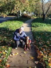 Adoptive Family Photo: Jen & Hershey Out on a Walk, click to view bigger version