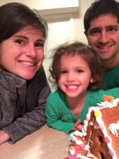 Adoptive Family Photo: Building a Gingerbread House with Our Niece, click to view bigger version