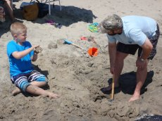 Adoptive Family Photo: Sand Castles with Our Nephew, Devon, click to view bigger version