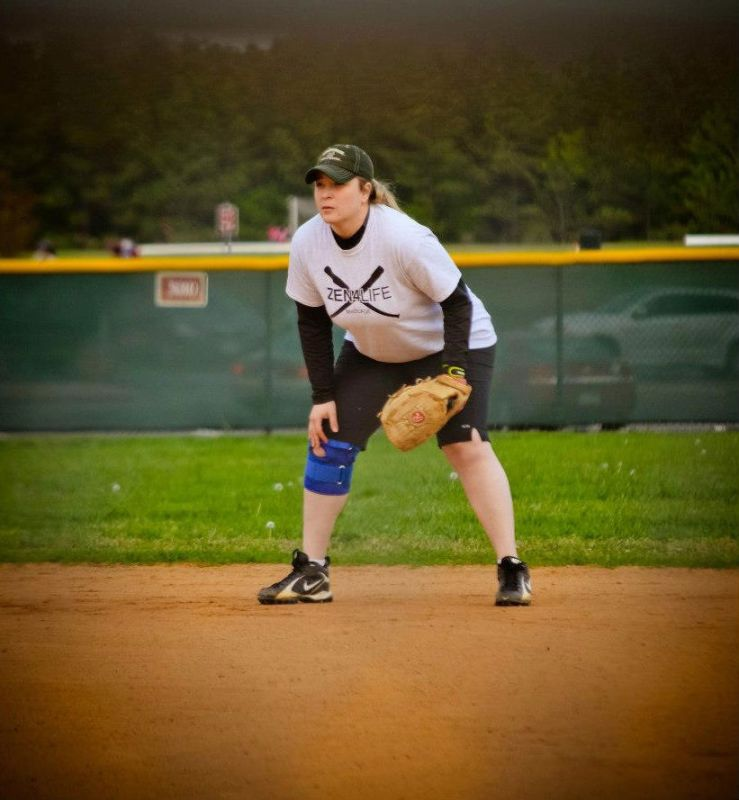 Jenn Playing in a Charity Softball Game