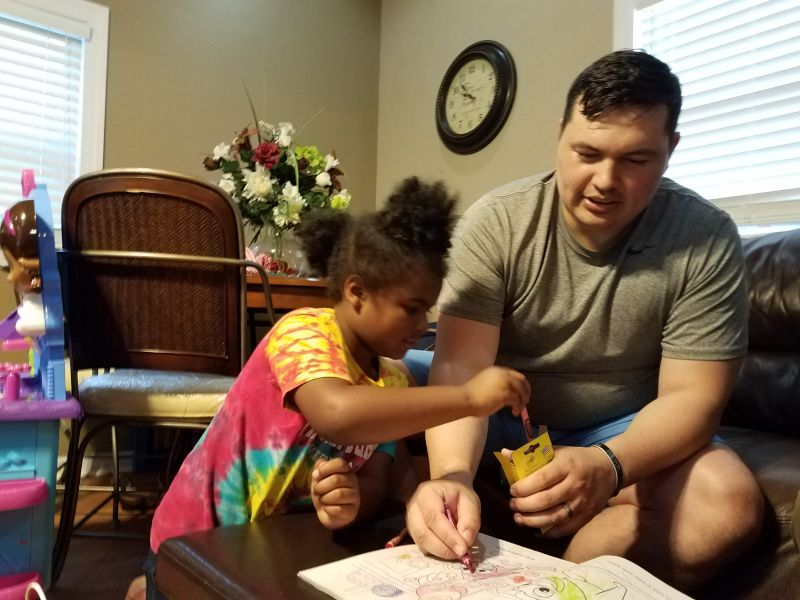 Coloring with Our Niece