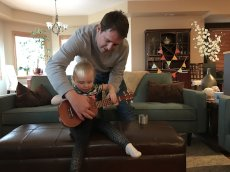 Adoptive Family Photo: Scott Teaching Our Niece the Ukelele, click to view bigger version
