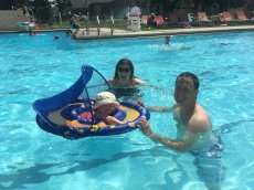 Adoptive Family Photo: Laura With Her Brother and Niece at the Pool, click to view bigger version