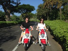 Adoptive Family Photo: Riding Scooters in Hawaii, click to view bigger version