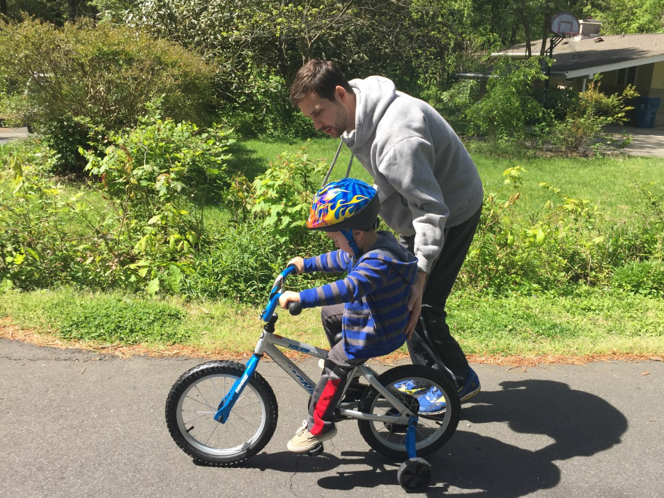 Teaching Our Nephew to Ride His Bike