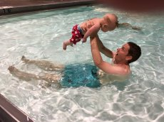 Adoptive Family Photo: Enjoying Our Weekly Family Swim Night at the YMCA, click to view bigger version