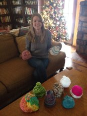 Adoptive Family Photo: Stephanie Knitted Baby Hats for a Fundraiser, click to view bigger version