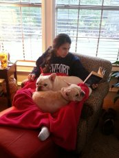 Adoptive Family Photo: Reading with the Pups