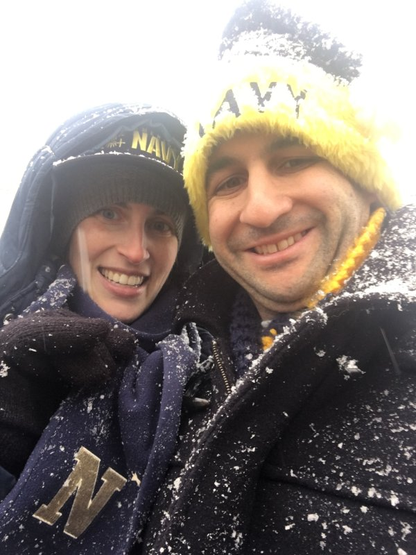 Enjoying a Chilly Football Game