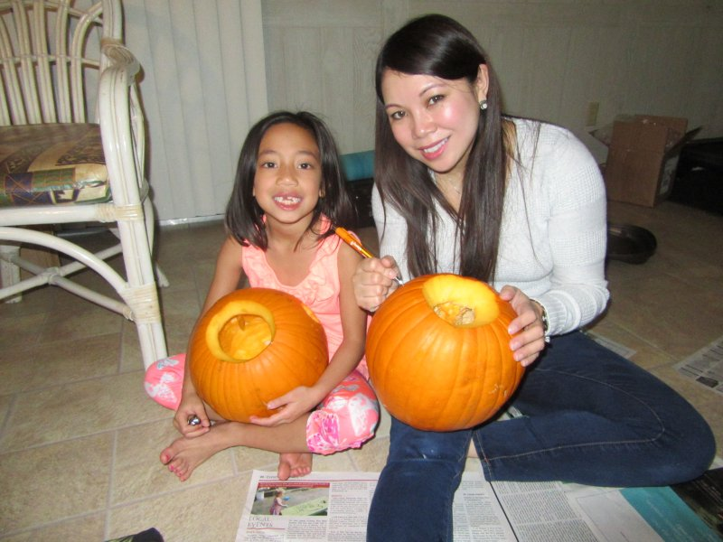 Carving Pumpkins with Our Niece