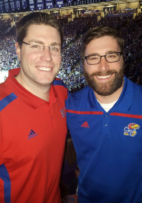 Matt and His Brother Cheering on the Jayhawks