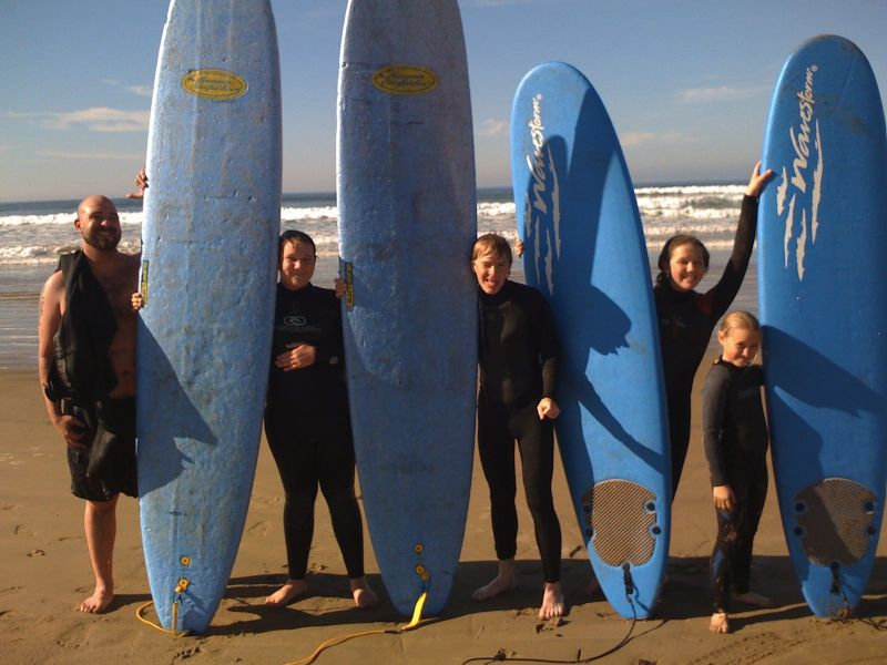 Sam Surfing With Cousins