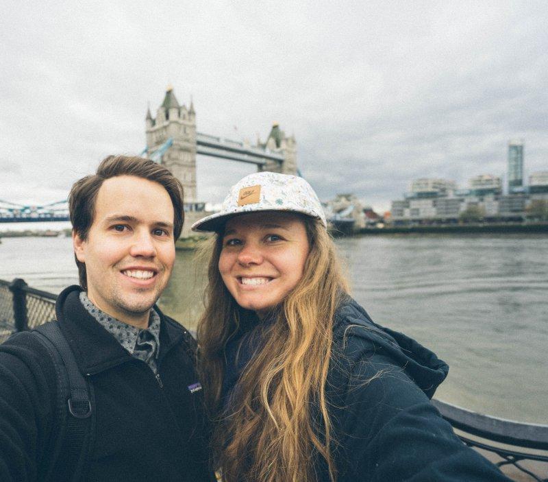 Posing With Tower Bridge in London