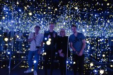 Adoptive Family Photo: Checking Out a Light Exhibit at a Museum in Denmark