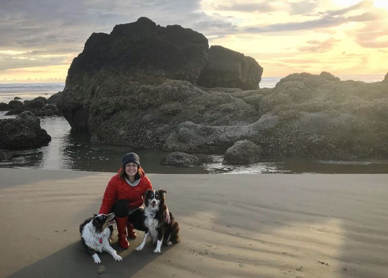 Catching the Sunset With the Pups at Cannon Beach, Oregon