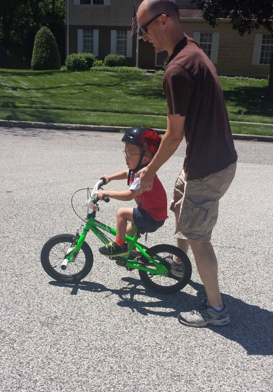 Harrison Learning to Ride His Bike