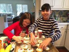 Adoptive Family Photo: Christmas Cookies With Cousin Charlotte, click to view bigger version