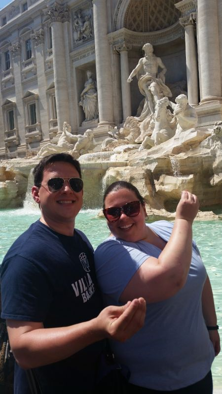 Making a Wish at Trevi Fountain in Rome