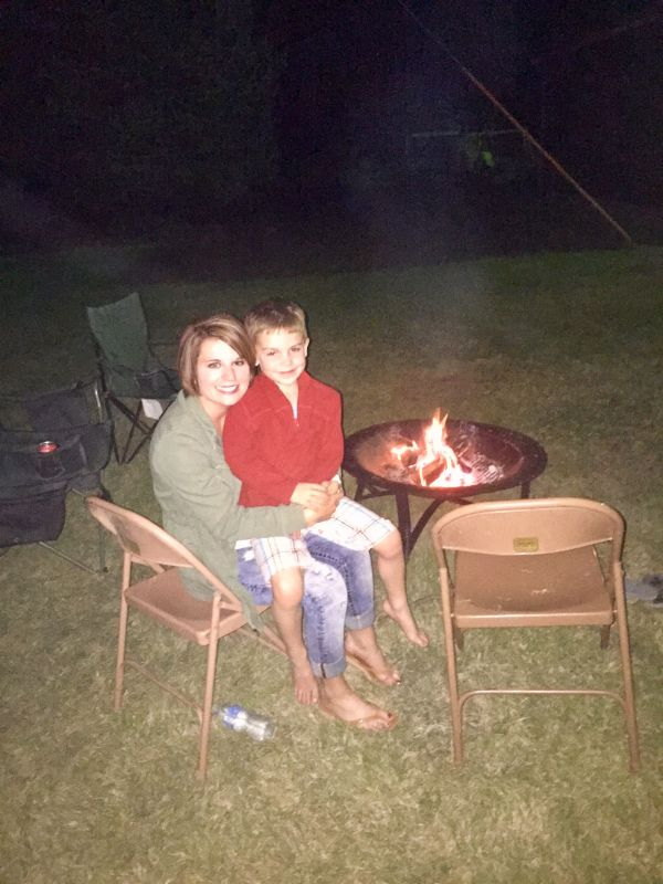 Enjoying a Campfire with Our Nephew