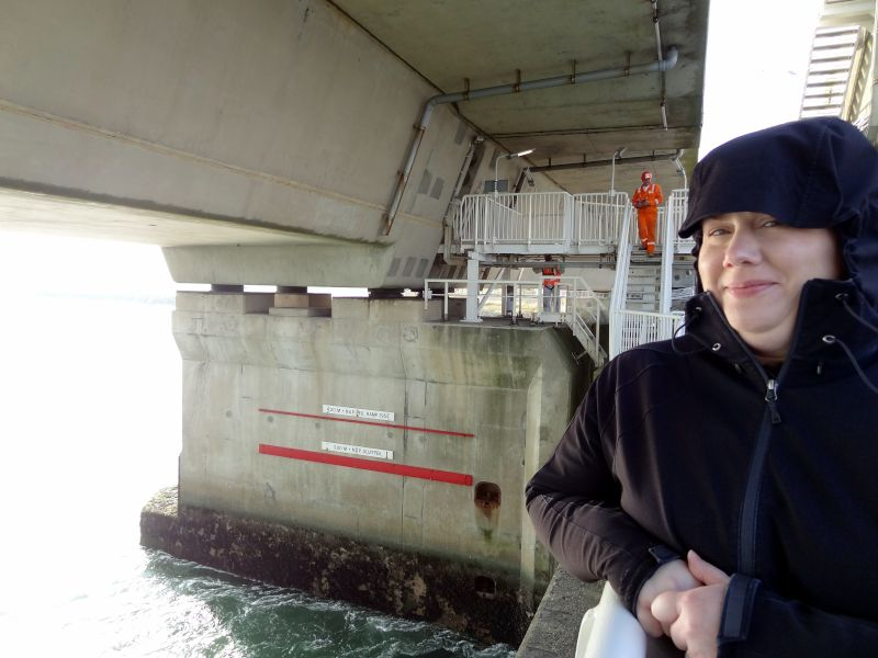 Wendy at the Delta Works Dam in the Netherlands