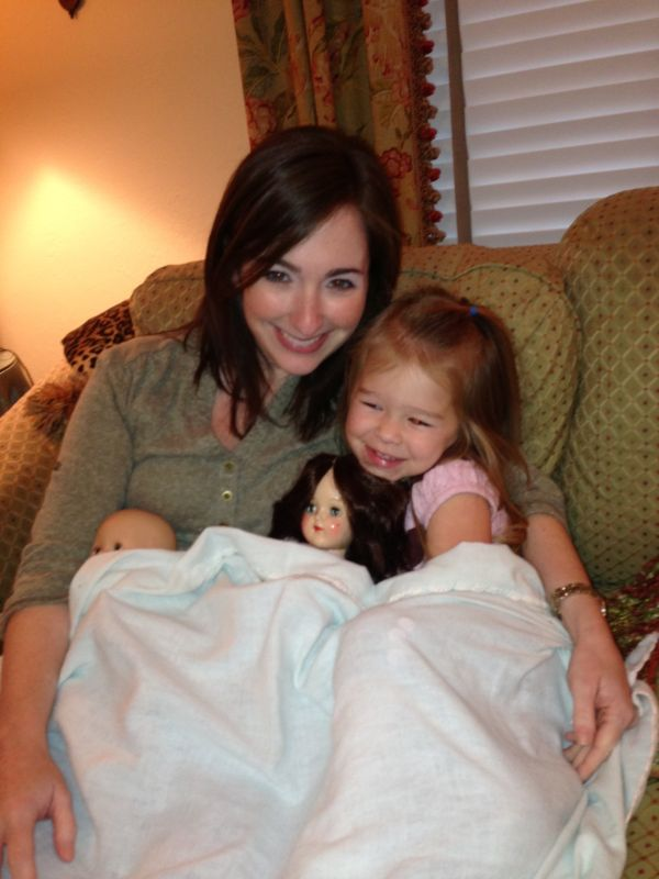 Snuggled with Our Niece & Her Dolls