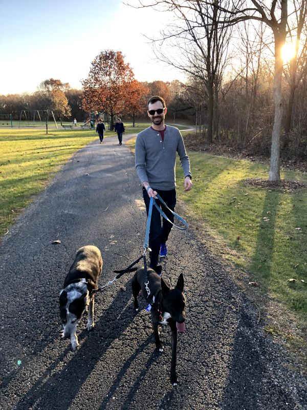 Kaleb Walking the Dogs in the Park
