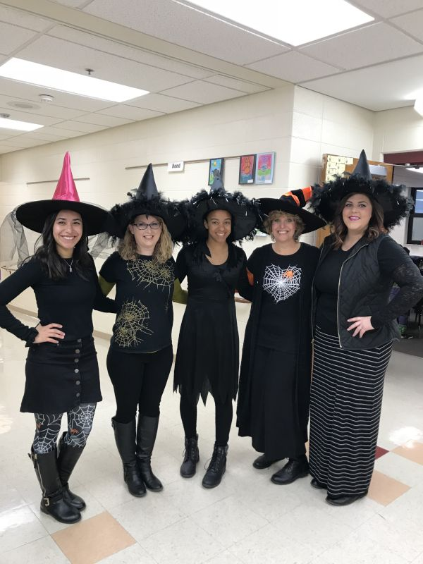 Dressed Up for Halloween with Her Teacher Friends