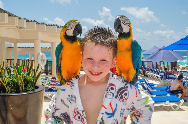 George Posing With Parrots on Our Family Vacation to Cancun