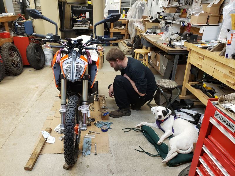 Craig & Roxie in the Workshop