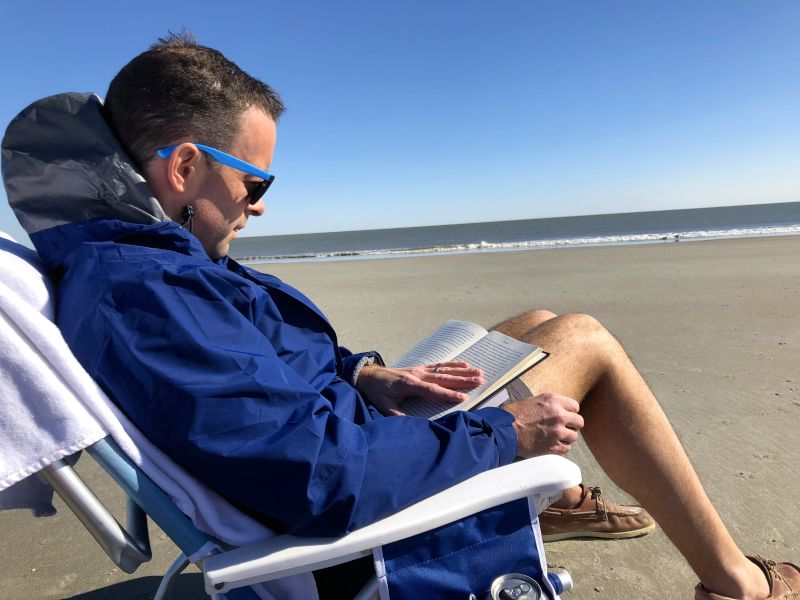 Ian Loves to Read at the Beach